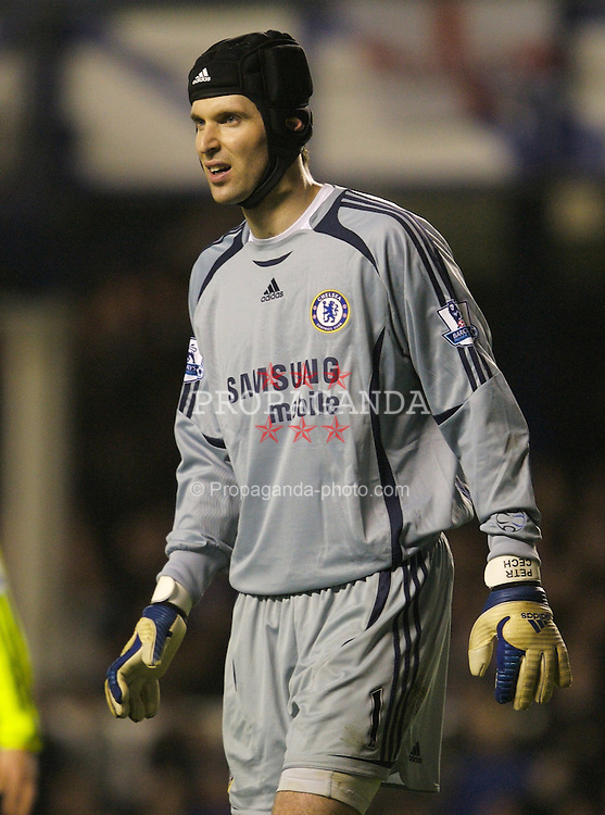 LIVERPOOL, ENGLAND - Wednesday, January 23, 2008: Chelsea's goalkeeper Petr Cech, who's wife gave brith this morning, during the League Cup Quarter-Final 2nd Leg match against Everton at Goodison Park. (Photo by David Rawcliffe/Propaganda)