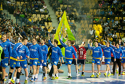 Players before handball match between RK Celje Pivovarna Lasko and SG Flensburg-Handewitt in the last sixteen of EHF Champions League 2013/14 on March 23, 2014 in Dvorana Zlatorog, Celje, Slovenia. Photo by Urban Urbanc / Sportida