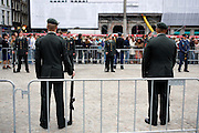 Guard of Honour, Dam Square, WW2 Liberation Ceremony in Amsterdam May 4th 20009. The Dutch Queen Beatrix attended, under heavy security and sniper cover following an attempted attack on the Royal Family on Queens Day in Apeldoorn