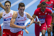 (C) Patryk Dobek of Poland competes in men's relay 4x400 meters qualification during the IAAF Athletics World Indoor Championships 2014 at Ergo Arena Hall in Sopot, Poland.<br /> <br /> Poland, Sopot, March 8, 2014.<br /> <br /> Picture also available in RAW (NEF) or TIFF format on special request.<br /> <br /> For editorial use only. Any commercial or promotional use requires permission.<br /> <br /> Mandatory credit:<br /> Photo by &copy; Adam Nurkiewicz / Mediasport