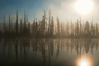 Lewis River in Yellowstone National Park as the misty fog begins to lift on a fall October morning.
