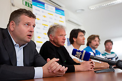 Tomaz Lovse, president of SZS, Slavo Mulej, Coach Aljosa Planteu, Filip Flisar, Slovenian freestyle skier competing in ski cross discipline, in season 2011/2012 overall Ski cross World Cup Winner and Rok Dokl of Elan at press conference after Flisar's great success, on March 13, 2012 in Ljubljana, Slovenia.  (Photo By Vid Ponikvar / Sportida.com)