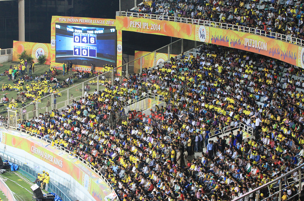 Crowd during match 21 of the Pepsi Indian Premier League Season 2014 between the Chennai Superkings and the Kolkata Knight Riders  held at the JSCA International Cricket Stadium, Ranch, India on the 2nd May  2014<br /> <br /> Photo by Arjun Panwar / IPL / SPORTZPICS<br /> <br /> <br /> <br /> Image use subject to terms and conditions which can be found here:  http://sportzpics.photoshelter.com/gallery/Pepsi-IPL-Image-terms-and-conditions/G00004VW1IVJ.gB0/C0000TScjhBM6ikg