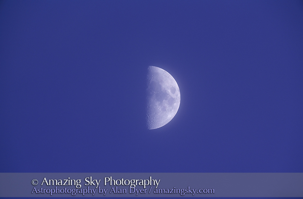 First Quarter Moon in daylight<br /> <br /> with 5-inch apo refractor at f/6, April 1997<br /> Ektachrome 100 slide film