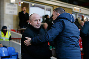 Accrington Stanley Manager John Coleman and Bristol Rovers Manager Graham Coughlan shake hands during the EFL Sky Bet League 1 match between Accrington Stanley and Bristol Rovers at the Fraser Eagle Stadium, Accrington, England on 12 January 2019.