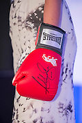 Sarah-Jane Mee, Sky Sports auctions an Anthony Joshua signed boxing glove- UK charity, Sport for Freedom (SFF), marks Anti-Slavery Day 2015 by hosting a charity Gala Dinner, supported by Aston Martin, on Thursday 15th October at Stamford Bridge, home of Chelsea Football Club. This inaugural event brought together people from the world of sport, entertainment, media, and business to unite behind a promise to tackle the issue of modern day human trafficking and slavery.  <br /> Hosted by Sky presenters Sarah-Jane Mee and Jim White, the Sport for Freedom Gala Dinner includes guests such as jockey AP McCoy OBE; Denise Lewis, former British Olympic Gold Medal winner; BBC Strictly star, Brendan Cole; Al Bangura, former Watford FC player and Sport for Freedom Ambassador who was trafficked from Africa to the UK at the age of just 14yrs old; Made in Chelsea star, Ollie Proudlock; ITV weather presenter, Lucy Verasamy; Sky Sports F1 presenter and SFF Ambassador, Natalie Pinkham; Premier League footballers Ryan Bertrand of Southampton FC and Troy Deeney of Watford FC and champion boxer, Anthony Joshua; and The UK's first independent Anti Slavery Commissioner, Kevin Hyland OBE, who highlighted the issues of modern day slavery that face the UK and world today. <br /> The evening concluded with chart topping music from 'Naughty Boy'. <br /> Sport for Freedom are also joining forces with the Premier League Academies for an international  'Football for Freedom' tournament with their U16's players that will also involve educating those taking part about the issues surrounding modern day slavery. The final will take place at Liverpool FC's Academy on Anti-Slavery Day, 18th October.