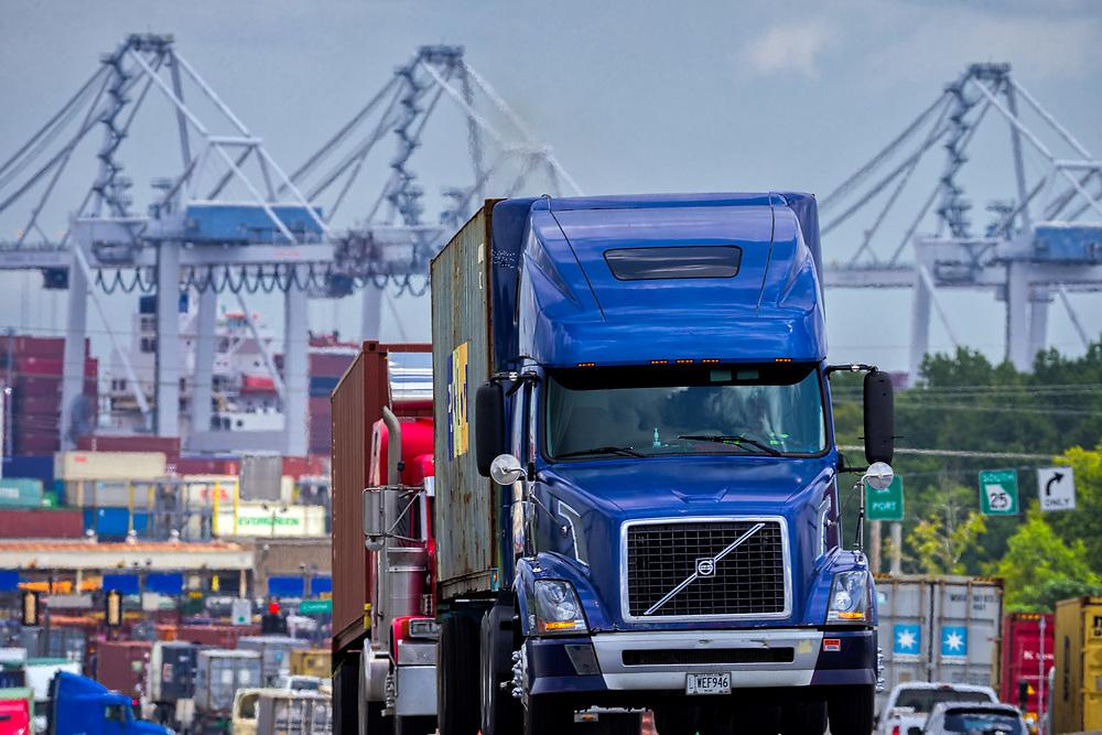 Semi tractor trailer leave the Georgia Ports Authority Port of Savannah, Monday, Aug., 14, 2017, in Garden City, Ga.  (GPA Photo/Stephen B. Morton)
