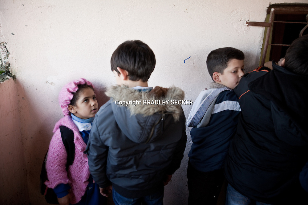 Children wait in line at the school canteen, at the Albashayer School for Syrian refugee children, Antakya, Turkey. 14/12/2012. Bradley Secker for The Washintgon Post
