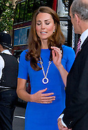 """CATHERINE, DUCHESS OF CAMBRIDGE .displaying a slightly fuller figure in a blue dress, visited the National Portrait Gallery's Road to 2012: Aiming High Exhibition, London_19/07/2012.Mandatory credit photo: ©Dias/DIASIMAGES..(Failure to credit will incur a surcharge of 100% of reproduction fees)..                **ALL FEES PAYABLE TO: """"NEWSPIX INTERNATIONAL""""**..IMMEDIATE CONFIRMATION OF USAGE REQUIRED:.DiasImages, 31a Chinnery Hill, Bishop's Stortford, ENGLAND CM23 3PS.Tel:+441279 324672  ; Fax: +441279656877.Mobile:  07775681153.e-mail: info@newspixinternational.co.uk"""
