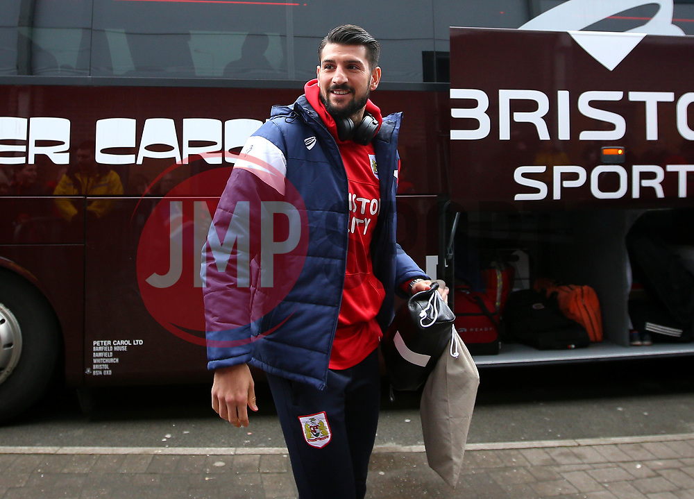 Eros Pisano of Bristol City arrives at The Pirelli Stadium for the Sky Bet Championship match with Burton Albion - Mandatory by-line: Robbie Stephenson/JMP - 10/03/2018 - FOOTBALL - Pirelli Stadium - Burton upon Trent, England - Burton Albion v Bristol City - Sky Bet Championship