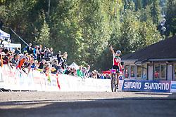Jolanda Neff of Switzerland wins the 2014 UCI Mountainbike World Championships in the U23 women's XCO race at Hafjell, Norway.