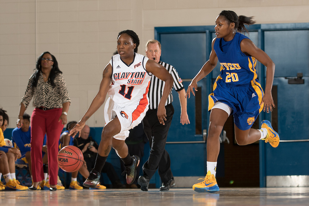 Dec. 3, 2014; Morrow, GA, USA; CSU's Kenisha Jones-Barrett (11) in action against Fort Valley State at CSU. Clayton State won 87-73. Photo by Kevin Liles / kevindliles.com