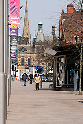Sheffield on the first day emergency measures which were announced by Prime minister Boris Johnson on Monday evening (24th march) <br /> Top of The Moor looking towards the Peace Gardens and Sheffield Town Hall<br /> <br /> 25 March 2020<br /> <br /> www.pauldaviddrabble.co.uk<br /> All Images Copyright Paul David Drabble - <br /> All rights Reserved - <br /> Moral Rights Asserted -