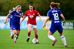 Olivia Chance of Bristol City is marked by Erin Cuthbert of Chelsea Women and Maren Mjelde of Chelsea Women - Mandatory by-line: Ryan Hiscott/JMP - 29/09/2019 - FOOTBALL - SGS College Stoke Gifford Stadium - Bristol, England - Bristol City Women v Chelsea Women - FA Women's Super League