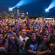 Fans cheer while Eminem performs Friday, August 1, 2014 at Lollapalooza in Grant Park. (Brian Cassella/Chicago Tribune) B583906464Z.1 <br /> ....OUTSIDE TRIBUNE CO.- NO MAGS,  NO SALES, NO INTERNET, NO TV, CHICAGO OUT, NO DIGITAL MANIPULATION...