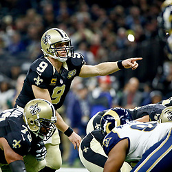 Nov 27, 2016; New Orleans, LA, USA;  New Orleans Saints quarterback Drew Brees (9) against the Los Angeles Rams during the first half of a game at the Mercedes-Benz Superdome. Mandatory Credit: Derick E. Hingle-USA TODAY Sports