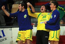 Players of Merkur (David Boznar, Anze Vrbinc) celebrate at handball game RD Slovan vs RD Merkur  in 7th round of MIK First league, on October 24, 2008 in Ljubljana, Slovenia. (Photo by Vid Ponikvar / Sportal Images)