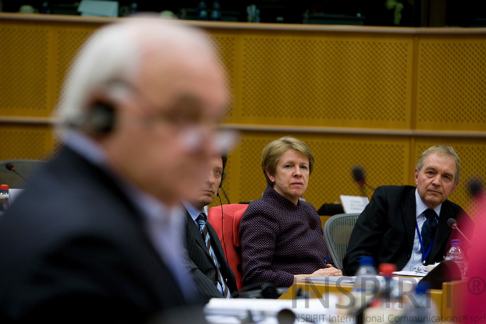 BRUSSELS - BELGIUM - 23 JANUARY 2008 -- In the front of the picture rapporteur and MEP Bernard LEHIDEUX speaking. Muriel DUNBAR, Director for European Training Foundation and Bent SOERENSEN, Head of Communication for ETF, listening.   Photo: Erik Luntang/