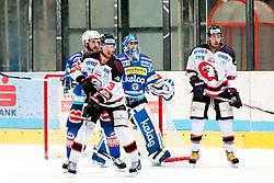 19.10.2012, Hostan Arena, Znojmo, CZE, EBEL, HC Orli Znojmo vs EC Villacher SV, 13. Runde, im Bild Brian Bickel (Znojmo #29) Thomas Honeckl (Villacher #31) Richad Jarusek  (Znojmo #96) // during the Erste Bank Icehockey League 13nd round match betweeen HC Orli Znojmo and EC Villacher SV at the Hostan Arena, Znojmo, Czech Republic on 2012/10/19. EXPA Pictures © 2012, PhotoCredit: EXPA/ Rostislav Pfeffer