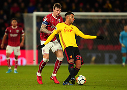 Etienne Capoue of Watford is shut down by Aden Flint of Bristol City - Mandatory by-line: Robbie Stephenson/JMP - 06/01/2018 - FOOTBALL - Vicarage Road - Watford, England - Watford v Bristol City - Emirates FA Cup third round proper