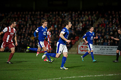 CHELTENHAM, ENGLAND - Monday, January 7, 2013: Everton's Leighton Baines celebrates scoring the second goal against Cheltenham Town from the penalty spot during the FA Cup 3rd Round match at Whaddon Road. (Pic by David Rawcliffe/Propaganda)