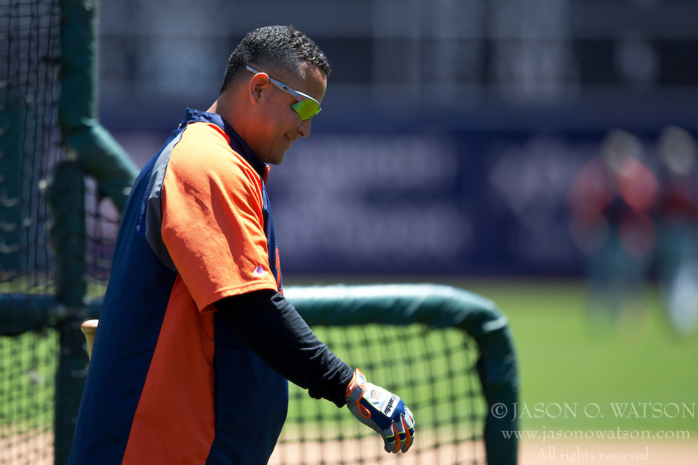OAKLAND, CA - MAY 26:  Miguel Cabrera #24 of the Detroit Tigers walks off the field during batting practice before the game against the Oakland Athletics at O.co Coliseum on May 26, 2014 in Oakland, California. The Oakland Athletics defeated the Detroit Tigers 10-0.  (Photo by Jason O. Watson/Getty Images) *** Local Caption *** Miguel Cabrera