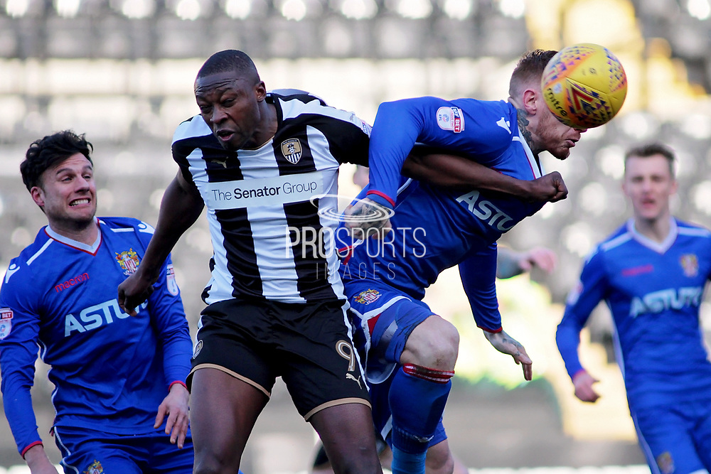 Notts County's Shola Ameobi(9) gets stuck in during the EFL Sky Bet League 2 match between Notts County and Stevenage at Meadow Lane, Nottingham, England on 24 February 2018. Picture by Nigel Cole.