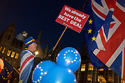 As the vote of no confidence for Prime Minister Theresa May's leadership in the Conservative Party occurs because of her handling of the Brexit deal with the EU, Remainer activist Steve Bray protests opposite Parliament in Westminster, on 12th December 2018, in London, England.