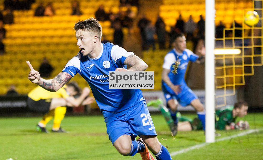 Livingston v Queen of the South, Scottish Championship, 2 January 2016, Gary Oliver (Queen of the South, 28) celebrates Derek Lyle (Queen of the South, 9) opening the scoring during the Livingston v Queen of the South Scottish Championship match played at the Toni Macaroni Arena, © Chris Johnston | SportPix.org.uk