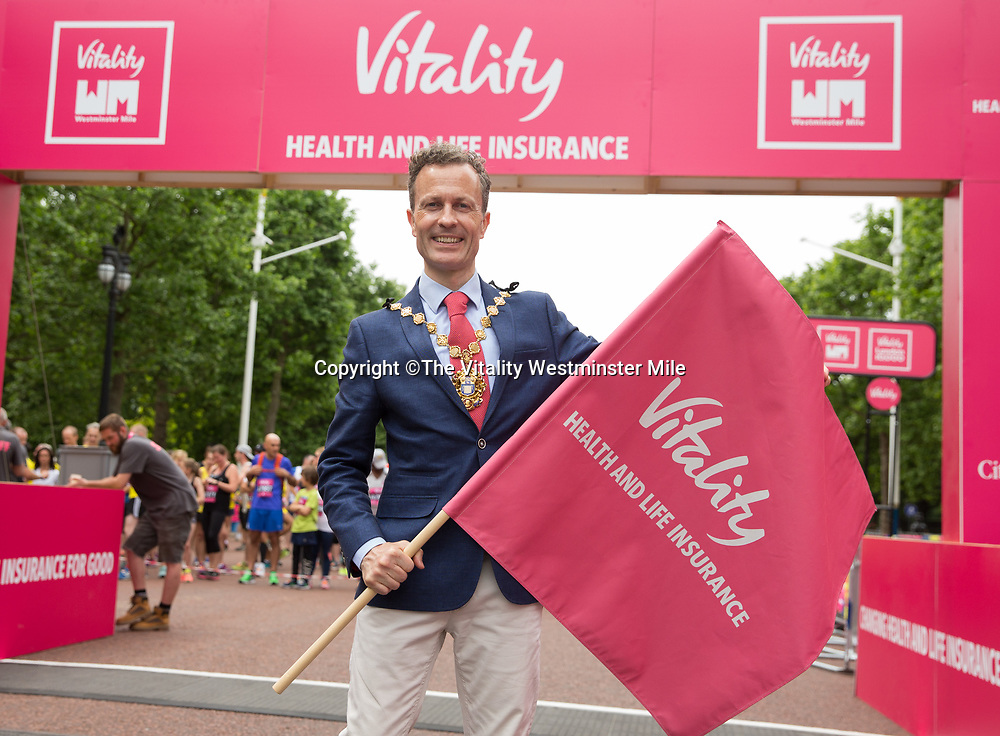 Lord Mayor Councillor Ian Adams<br />  starter for the family and sweatshop races during The Vitality Westminster Mile, Sunday 28th May 2017.<br /> <br /> Photo: Ben Queenborough for The Vitality Westminster Mile<br /> <br /> For further information: media@londonmarathonevents.co.uk