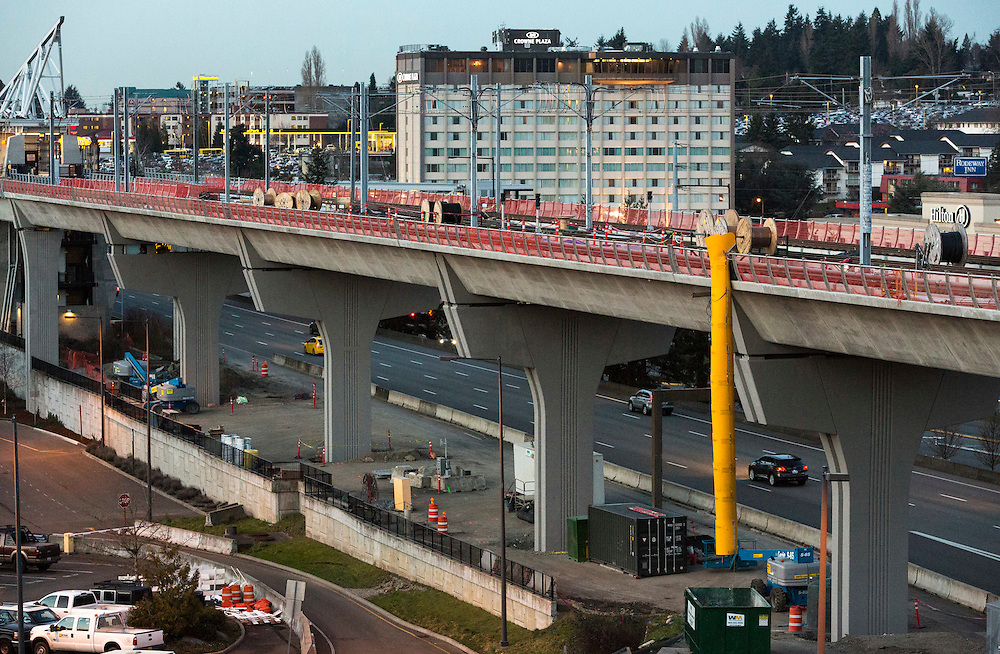 Construction of the Sound Transit Link light rail extension is pictured at SeaTac Airport, Feb. 25, 2016, in Sea Tac, Wash. (Jason Redmond photo)