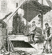 'Thames subway between Tower Hill and Vine Street:  Sinking the shaft on the Tower Hill side of the river. A steam-power windlass is being used to lift buckets of spoil.  Engraving, 1869.'