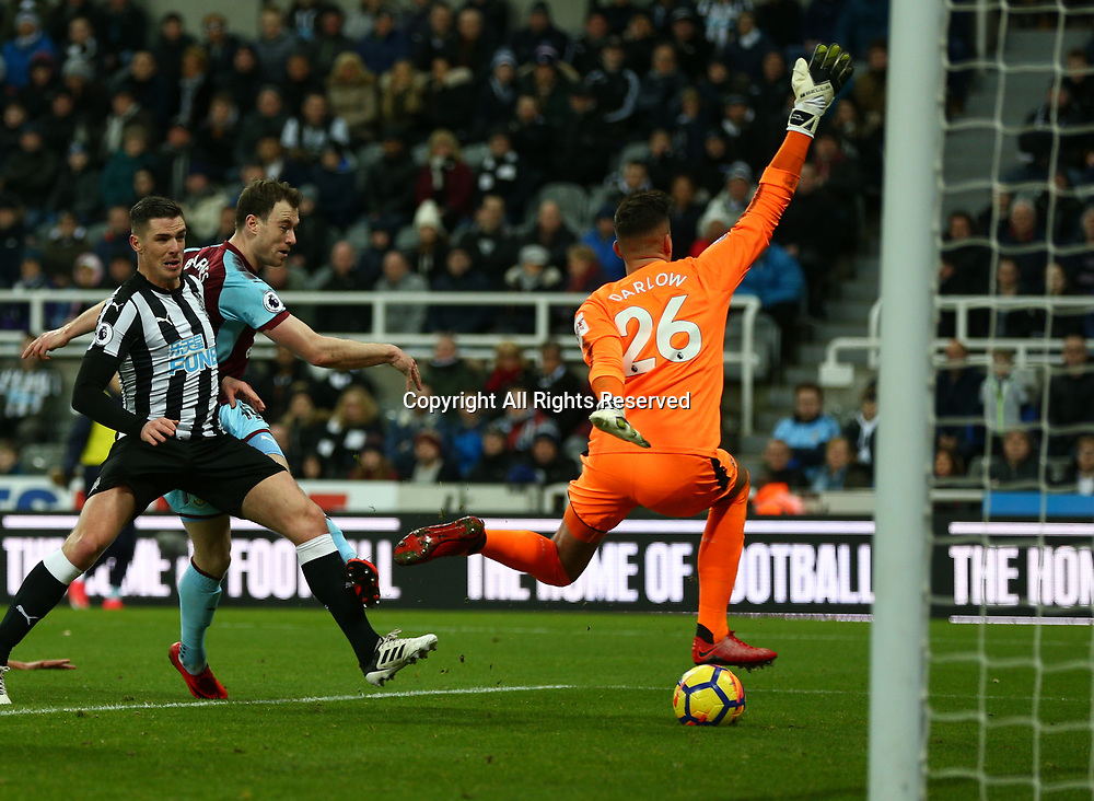 31st January 2018, St James Park, Newcastle upon Tyne, England; EPL Premier League football, Newcastle United Burnley; Ashley Barnes of Burnley scores but it was ruled out for a push on Jamaal Lascelles of Newcastle United