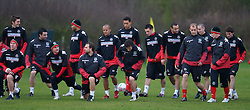 CHESTER, ENGLAND - Monday, February 4, 2008: Wales players training in the rain at the Carden Park Hotel ahead of their friendly match against Norway. (Photo by David Rawcliffe/Propaganda)