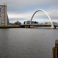 Bendy bridge over river Clyde, Glasgow, Scotland