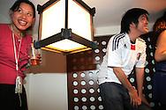 Japan v Cameroon at Binch Yakitori, Soho.<br /> <br /> Copyright: Jonathan GoldbergWorld Cup 2010 watched  on London TV<br /> Japan v Cameroon, Soho