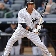 Yangervis Solarte, New York Yankees, batting during the New York Yankees V Baltimore Orioles home opening day at Yankee Stadium, The Bronx, New York. 7th April 2014. Photo Tim Clayton