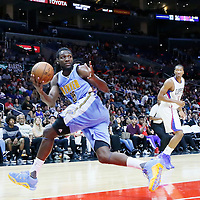 02 October 2015: Denver Nuggets forward Kenneth Faried (35) grabs a rebound during the Los Angeles Clippers 103-96 victory over the Denver Nuggets, in a preseason game, at the Staples Center, Los Angeles, California, USA.