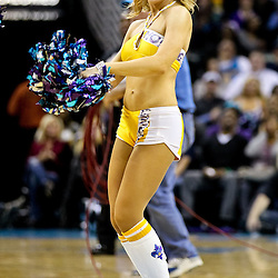 November 5, 2010; New Orleans, LA, USA; A New Orleans Hornets Honeybees cheerleader performs during a game against the Miami Heat at the New Orleans Arena. The Hornets defeated the Heat 96-93. Mandatory Credit: Derick E. Hingle