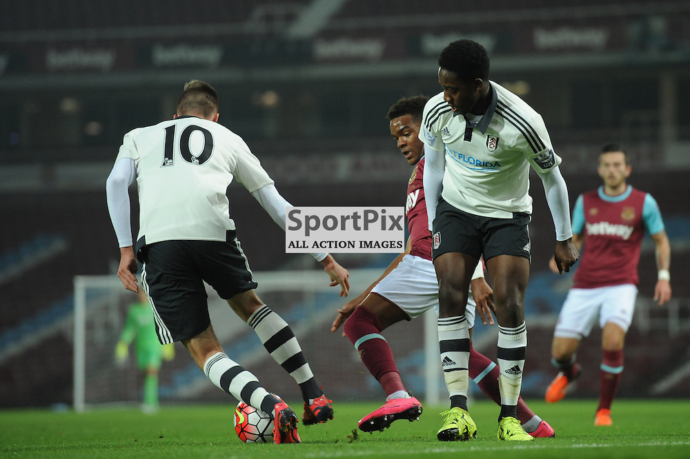 West Ham's Martin Samuelsen and Fulhams Mattias Kait (left) and Rhyeem Sheckleford (right) in action during the West Ham u21 v Fulham u21 match in the Barclays U21 Premier League Division 2 on 26th October 2015.