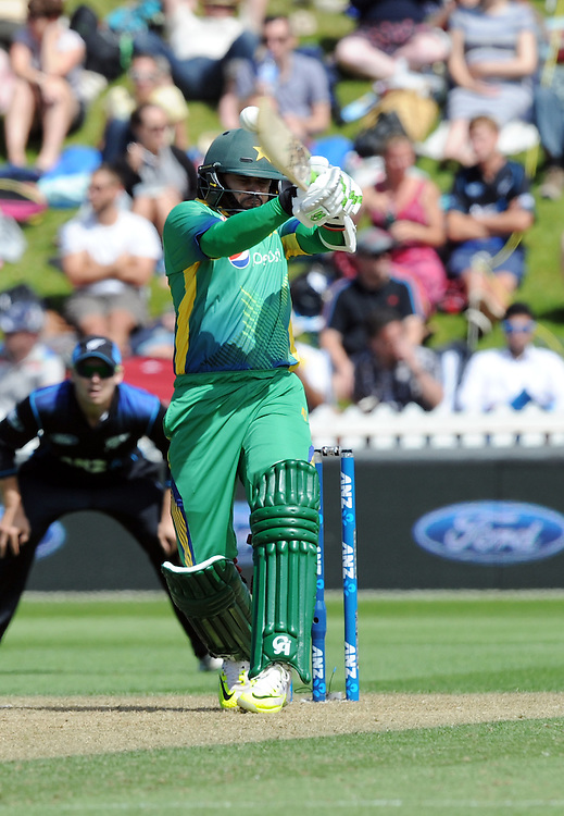 Pakistan's Ahmed Shahzad batting against New Zealand in the 1st ODI International Cricket match at Basin Reserve, Wellington, New Zealand, Monday, January 25, 2016. Credit:SNPA / Ross Setford