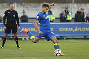 AFC Wimbledon striker Lyle Taylor (33) scoring penalty to make it 3-1 during the The FA Cup match between AFC Wimbledon and Charlton Athletic at the Cherry Red Records Stadium, Kingston, England on 3 December 2017. Photo by Matthew Redman.