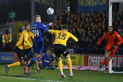 AFC Wimbledon striker Joe Pigott (39) battles for possession with Southend United defender Rob Kiernan (15) during the EFL Sky Bet League 1 match between AFC Wimbledon and Southend United at the Cherry Red Records Stadium, Kingston, England on 1 January 2020.