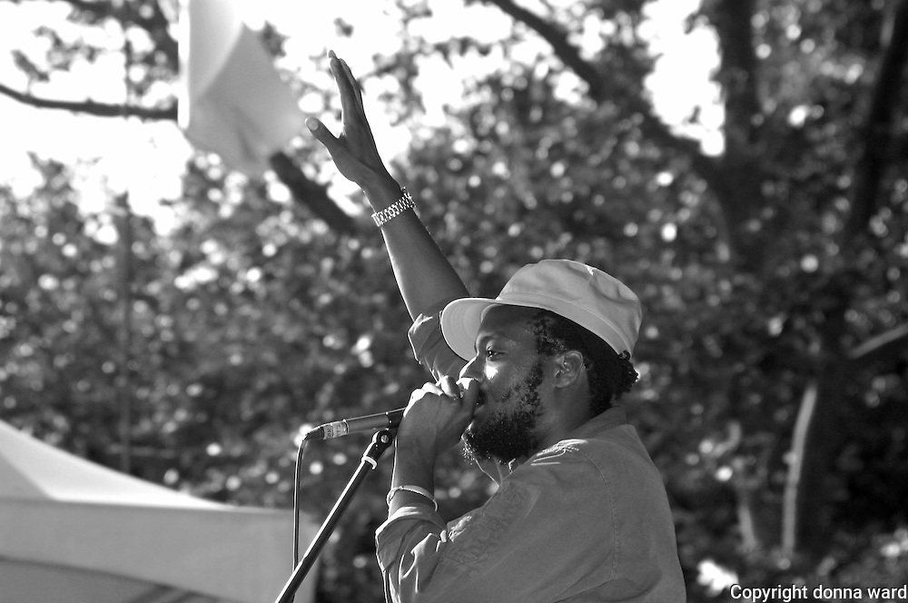 Rapper K-Os performs at Central Park SummerStage on July 12, 2003.