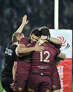 TBILISI, March. 13, 2017 Georgia's players celebrate during the match of Rugby Europe Champioships 2017 between Georgia and Russia in Tbilisi, Georgia, March 12, 2017. Georgia won 28-14. (Credit Image: © Kulumbegashvili Tamuna/Xinhua via ZUMA Wire)