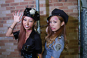 Women dressed in police  costumes for Halloween in Shibuya, Tokyo, Japan. Friday October 31st 2014