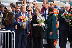 City Hall, London, June 5th 2017.  Labour's Harriet Harman MP, centre, arrives with flowers at a vigil held in remembrance of those killed during the June 3rd terror attack at London Bridge and Borough Market.
