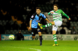 Yeovil Town's Edward Upson shoots - Photo mandatory by-line: Dougie Allward/JMP  - Tel: Mobile:07966 386802 04/12/2012 - SPORT - FOOTBALL - Johnstone's Paint Trophy  -  Yeovil  -  Huish Park  -  Yeovil Town V Wycombe Wanderers
