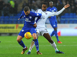 Joe Bennett of Cardiff City jostles with Ryan Sessegnon of Fulham- Mandatory by-line: Nizaam Jones/JMP- 26/12/2017 -  FOOTBALL - Cardiff City Stadium - Cardiff, Wales -  Cardiff City v Fulham - Sky Bet Championship
