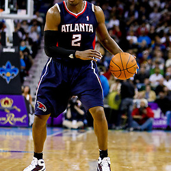 December 26, 2010; New Orleans, LA, USA; Atlanta Hawks shooting guard Joe Johnson (2) against the New Orleans Hornets during the fourth quarter at the New Orleans Arena.  The Hornets defeated the Hawks 93-86. Mandatory Credit: Derick E. Hingle